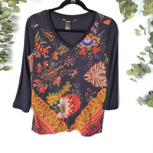 Desigual Blue Floral Jewel Top